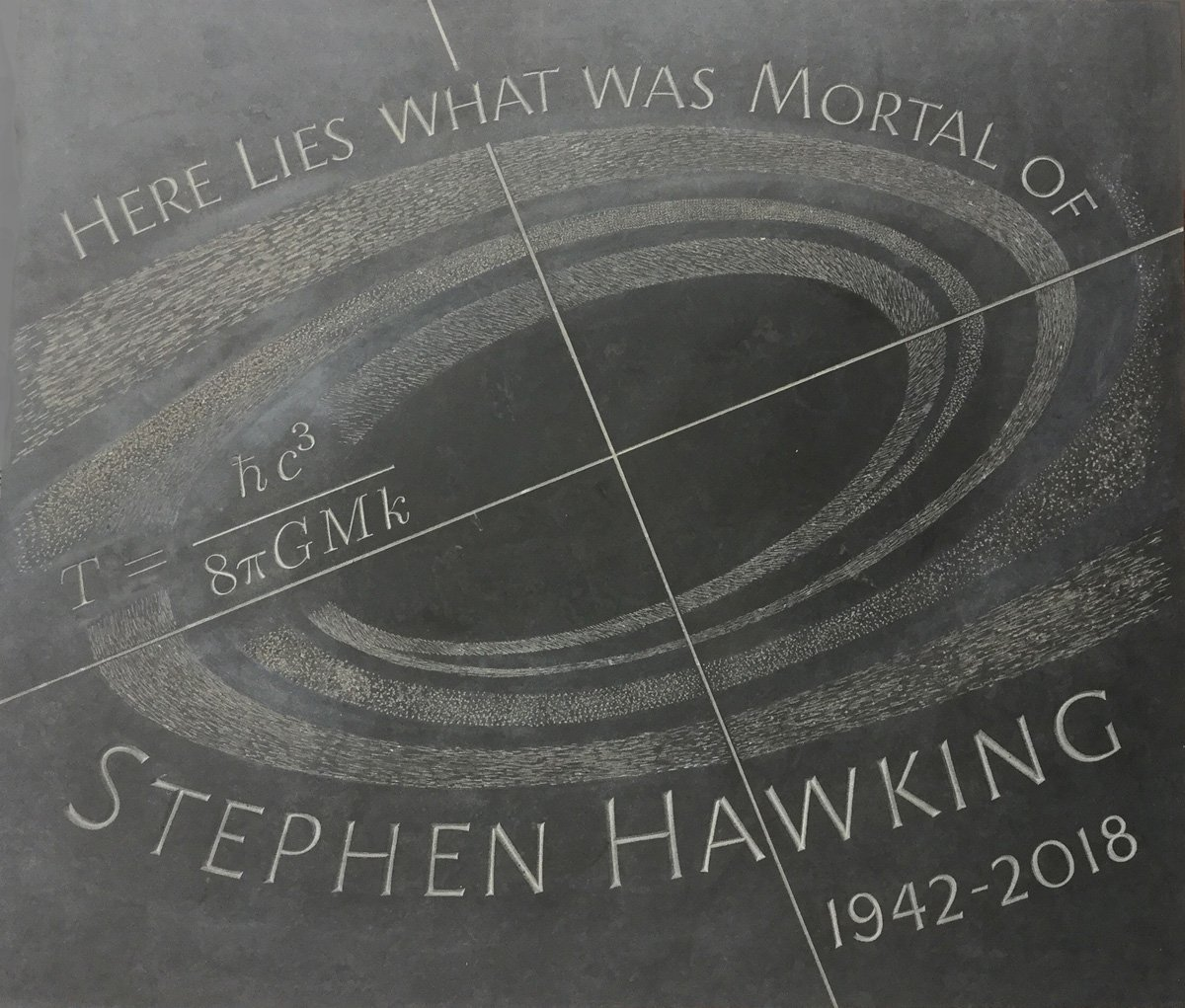 Hawking's memorial stone in Westminster Abbey which carries his most famous equation, describing the entropy of a black hole. Courtesy of the Science Museum.